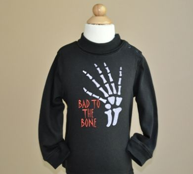 Custom Applique Bad To The Bone Halloween Applique