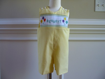 Custom Smocked Birthday Balloon Name Jon Jon
