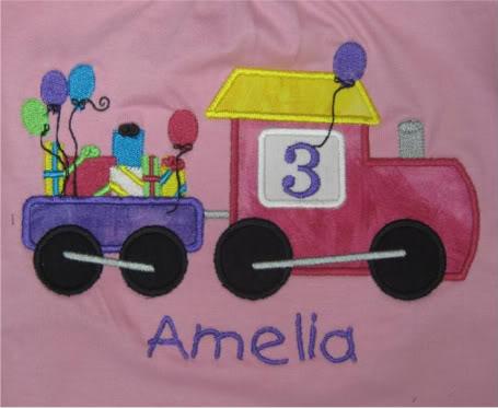 Custom Applique Train Birthday Shirt