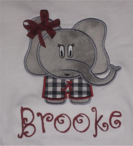 Custom Applique Alabama Elephant Football Shirt