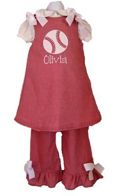 Custom Applique Baseball Dress Set