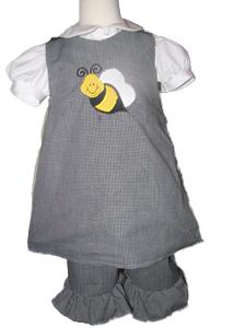 Custom Boutique Bee 2pc aline pant set (black gingham)