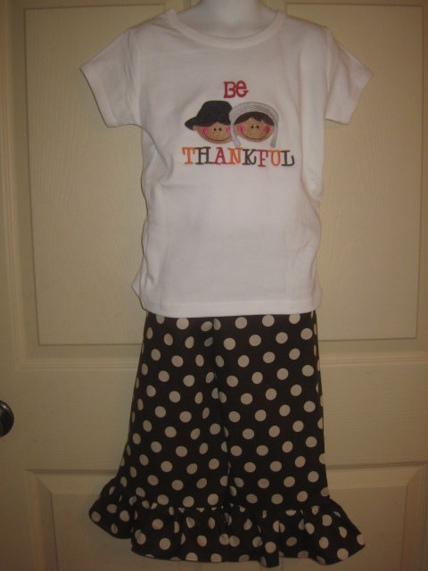Custom Applique Be Thankful Pilgrim Set-Thanksgiving