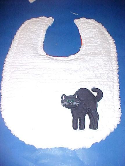 Custom Chenille Reversible Halloween Bib Black Cat Velcro or snap closure