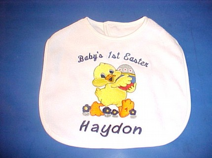 Custom Baby's First Easter Duckie Egg Bib