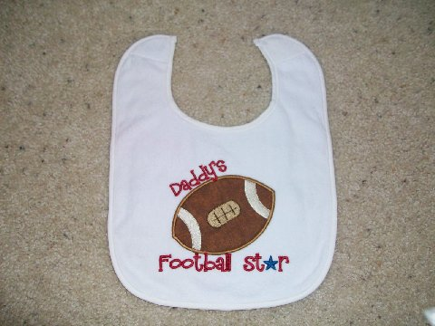 Custom Applique Daddy's Football Star Bib