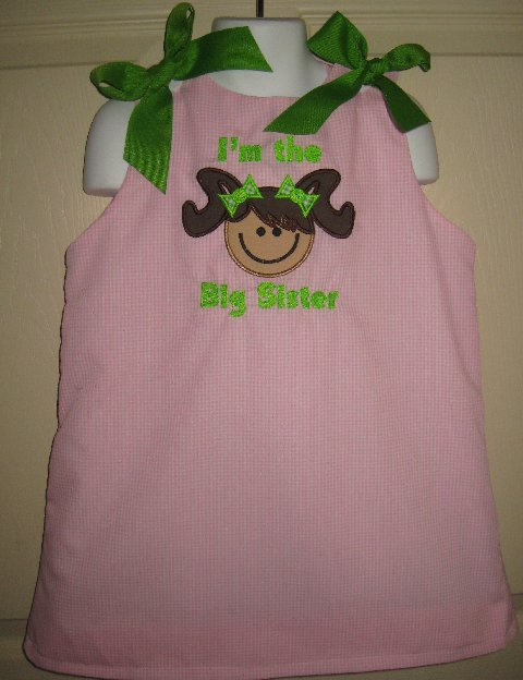 Custom Big Sister/ Little Sister Aline Applique Dress