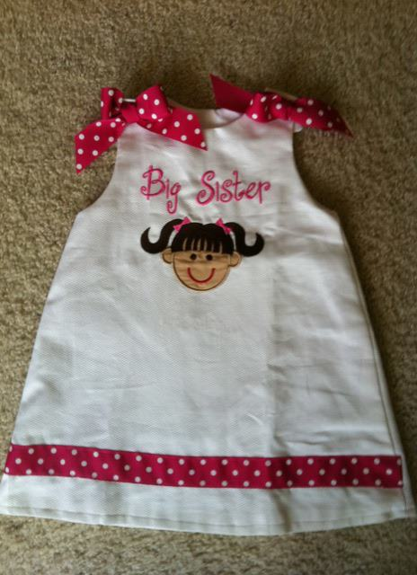 Custom Applique Big Sister Dress