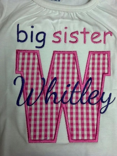 Custom Applique Big/Little Sister/Brother Initial Shirt