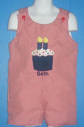 Custom Birthday Applique Cupcake Red Gingham Jon Jon