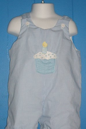 Custom Applique Birthday Light Blue Cupcake Jon Jon