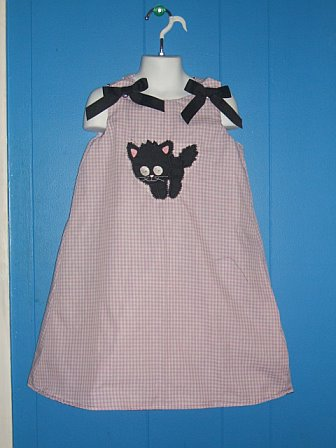 Custom Black Kitty Cat Applique Halloween Dress