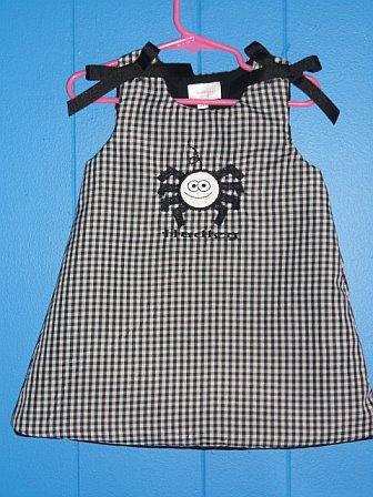 Custom Spider Applique Halloween Dress Black Gingham