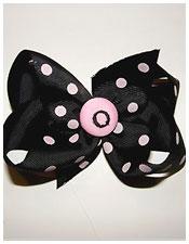 Black and Pink Polka Dot Monogram Hair Bow