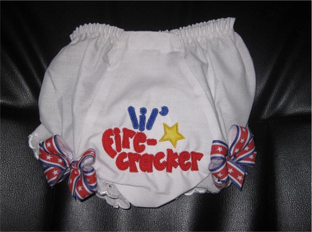 Custom Applique Lil' Firecracker 4th of July Diaper Cover
