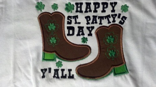 Custom Applique St. Patrick's Day Cowboy or Cowgirl Boot Shirt