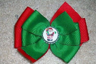 Christmas Santa Bottle Cap Bow
