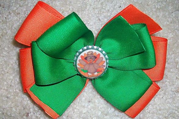 Custom Thanksgiving Turkey Bottle Cap Bow