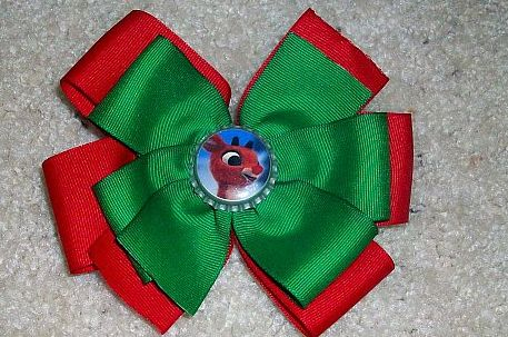 Custom Made Christmas Rudolph the Red-Nosed Reindeer Bottle Cap Bow