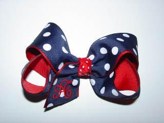 Custom 4th of July Monogrammed Initial Bow
