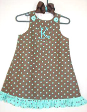 Custom Aline Brown and Turquoise Jumper Dress