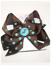 Chocolate and Turquoise Monogram Bow