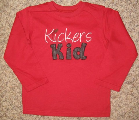 Custom Applique Football Kickers Kid Shirt
