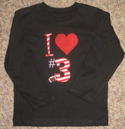 Custom Applique Football Love Shirt