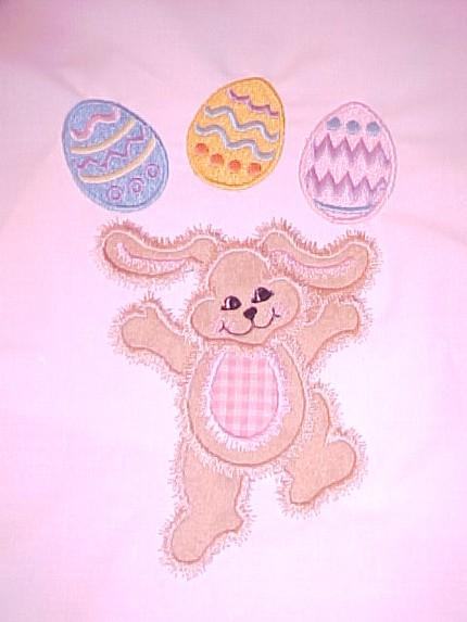 Custom Applique Easter Bunny With Eggs Shirt