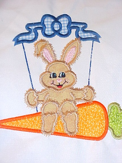 Custom Applique Easter Bunny Swinging on a Carrot Swing Shirt