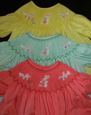 Custom Smocked Easter Bunny (3) Dress