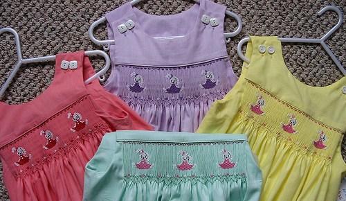Custom Smocked Easter Bunny Jumper Dress