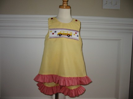 Custom Smocked School Bus Aline Dress