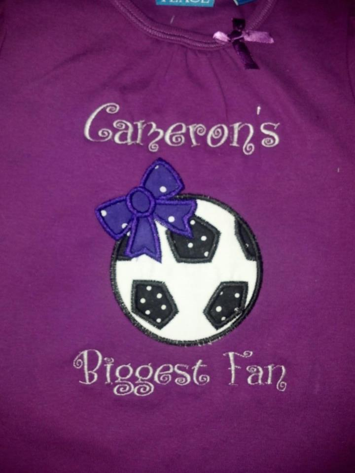 Custom Applique Soccer Biggest Fan Shirt