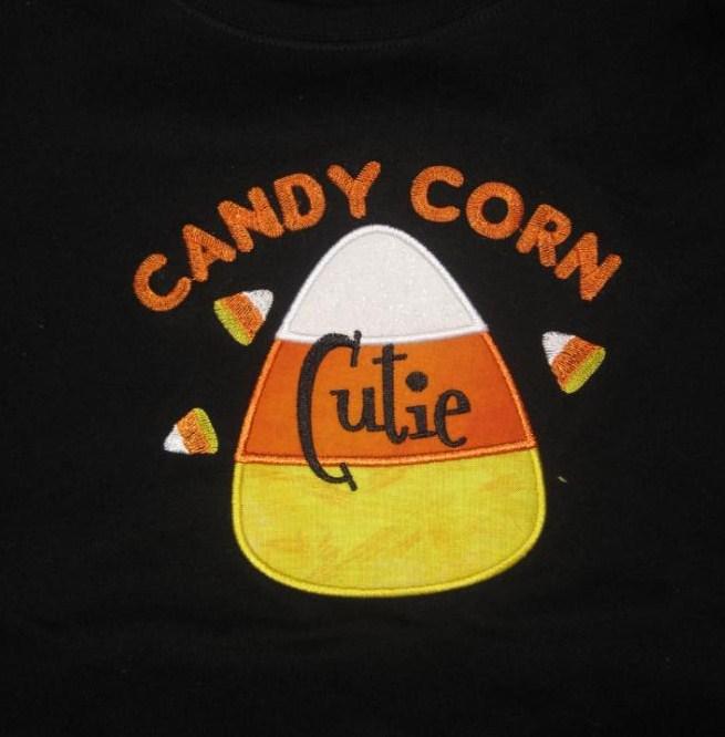 Custom Applique Candy Corn Cutie Halloween Shirt