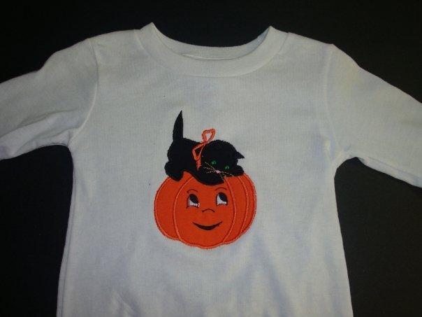 Custom Cat and Pumpkin Halloween Outfit Set