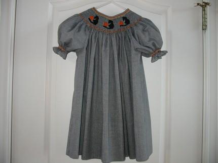 Custom Made Smocked Halloween Black Cat and Pumpkin Dress