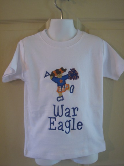 Custom Applique Auburn Cheerleader Shirt