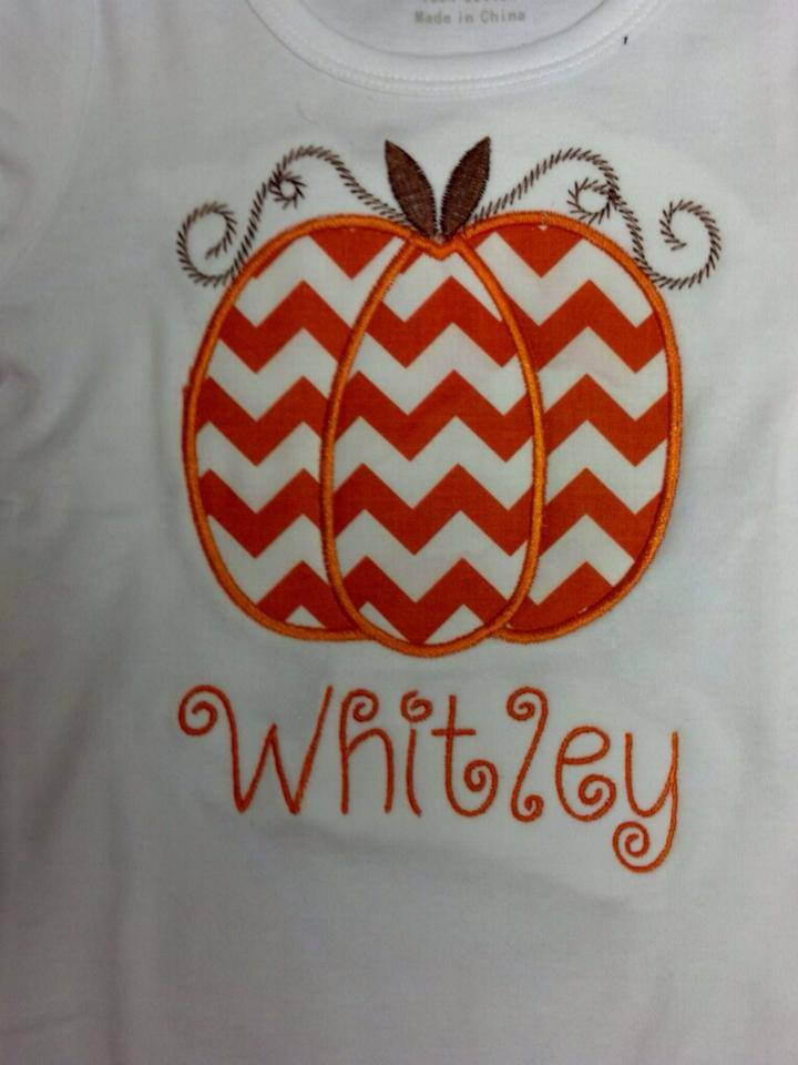 Custom Applique Chevron Halloween Thanksgiving Pumpkin Shirt
