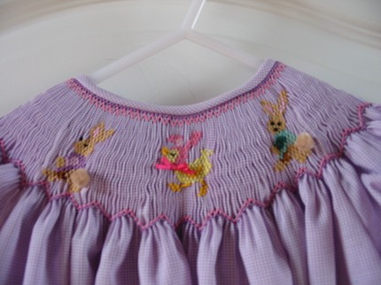 Custom Smocked Easter Bunny and Chick Easter Dress