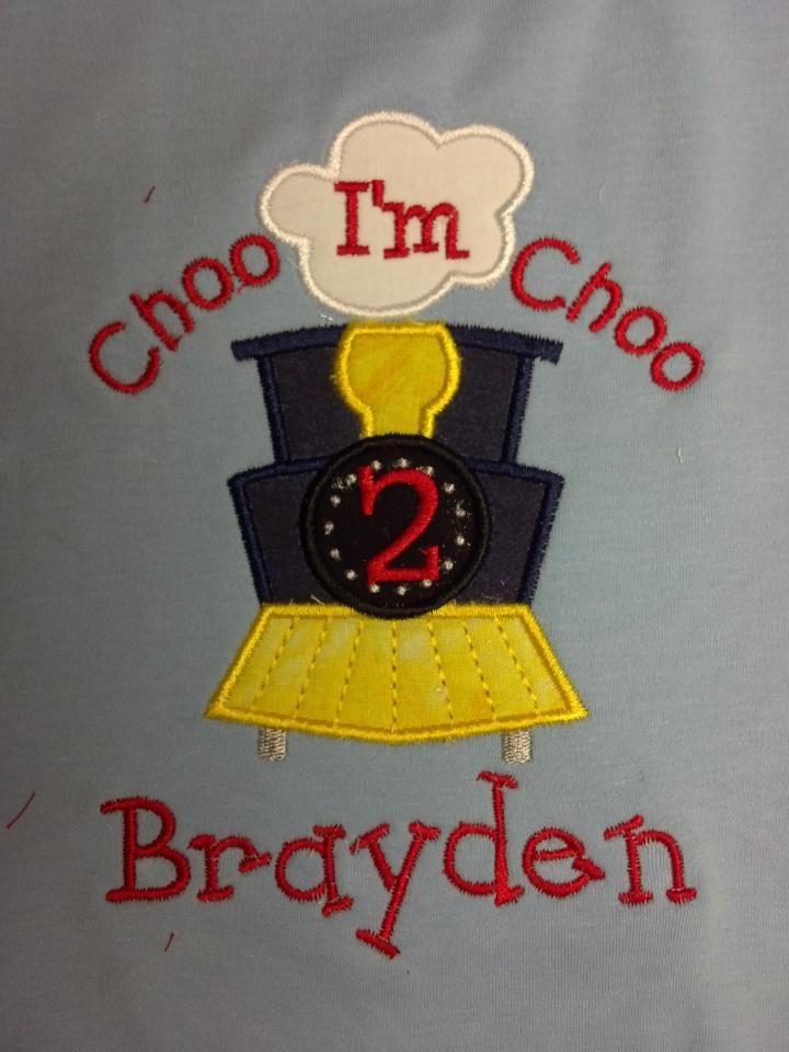 Custom Applique Choo Choo Birthday Shirt