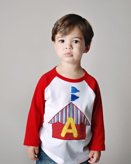Custom Circus Tent Applique Initial Shirt