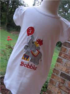 Custom Applique Circus Elephant Shirt