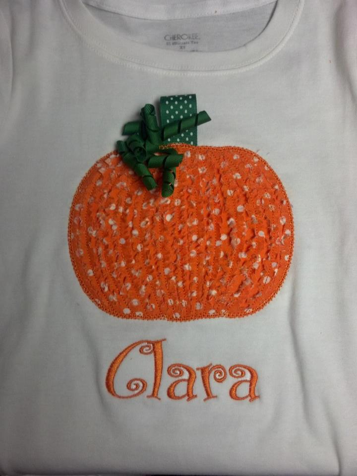 Custom Applique Cute Pumpkin Halloween Shirt