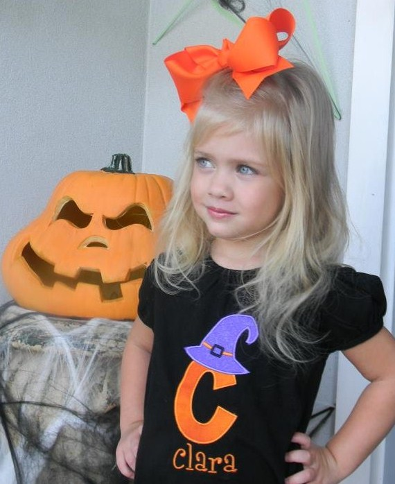 Custom Applique Witch Halloween Initial Hat Shirt