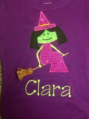Custom Applique Witch Halloween Shirt