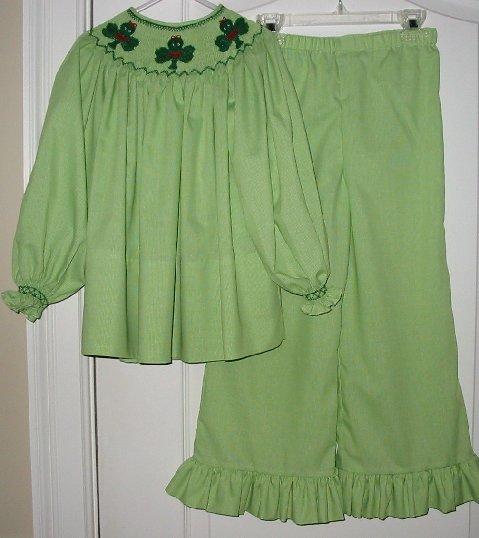 Custom Smocked St. Patrick's Day Clover  Bishop Top/Pant Set