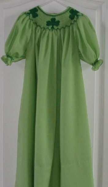 Custom Smocked St. Patrick's Day Clover Shamrock Dress