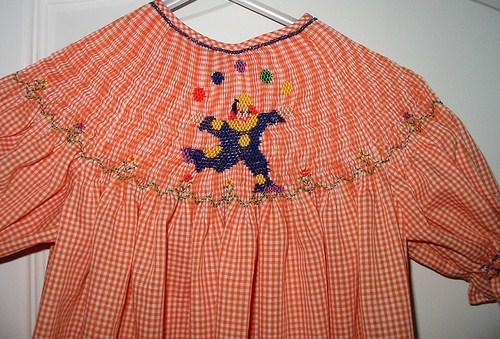 Custom Smocked Circus Clown Dress