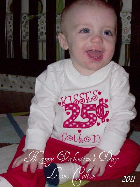Custom Applique Valentine's Shirt- Kisses 25 Cents